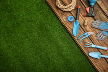 Wooden Surface With Gardening ...
