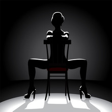 Cabaret Dancer Silhouette. Woman Sitting On A Chair. Vector Illustration.