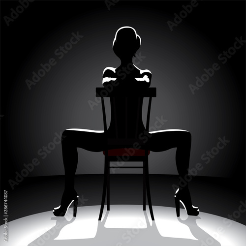 Leinwand Poster Cabaret dancer silhouette