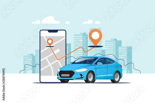Montage in der Fensternische Licht blau Blue car, smartphone with route and points location on a city map on the urban landscape background. Car and satellite navigation systems concept vector illustration.