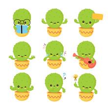 Cute Happy Smiling Cactus Emot...
