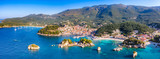 Panoramic view of scenic Parga city, Greece