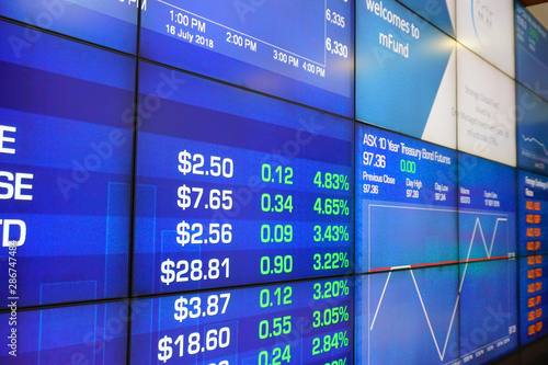 Fototapeta Display of Stock and Currency market quotes on digital LED Board obraz