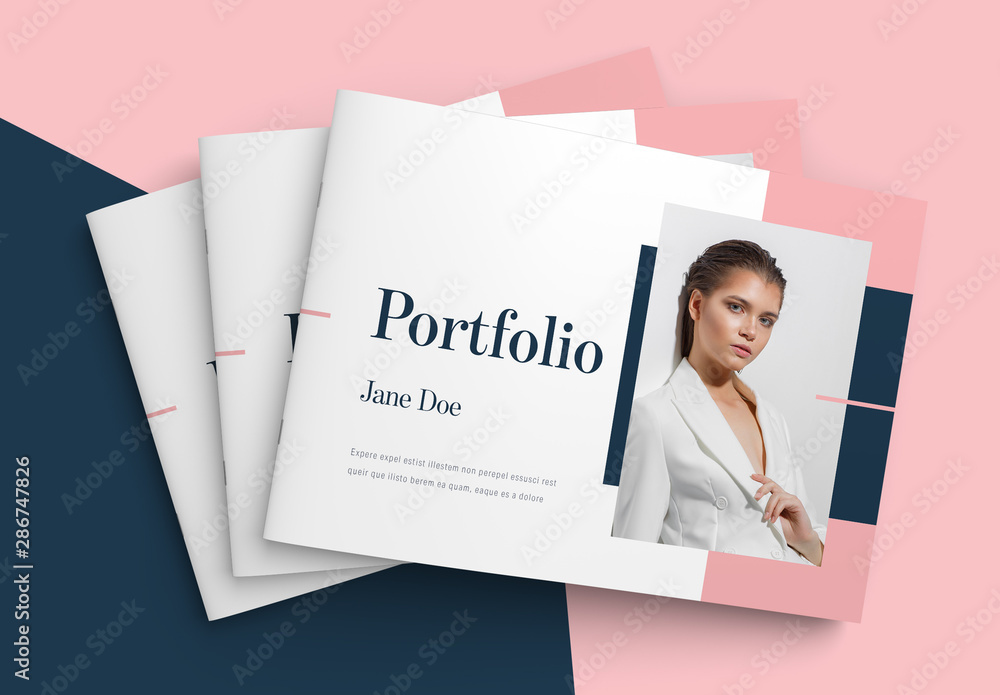Fototapety, obrazy: Landscape Portfolio Layout with Pink and Blue Accents