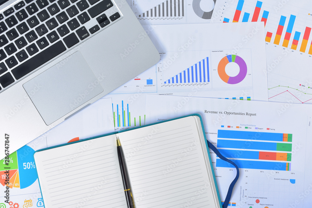 Fototapety, obrazy: Business and Finances Concepts. Laptop, Notebook with graph and pen