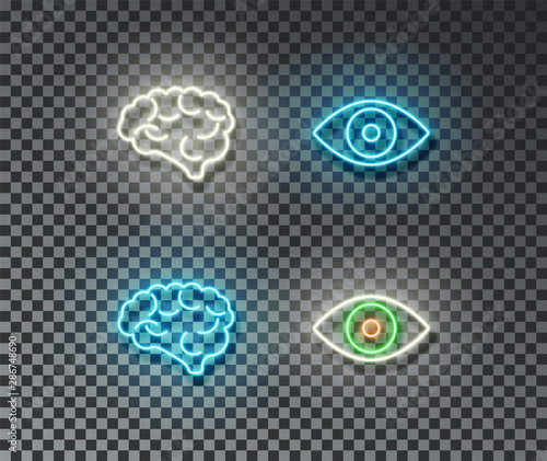 Neon mind and eye signs vector isolated on brick wall. Brain, eye light symbol, decoration effect. N Fototapete