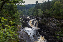 View Of Rogie Waterfall In Summer On The Blackwater River, Wester Ross And Cromarty, Highland , Scotland