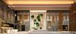 3D RENDER OF HOTEL RECEPTION HALL