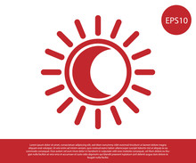 Red Eclipse Of The Sun Icon Isolated On White Background. Total Sonar Eclipse. Vector Illustration
