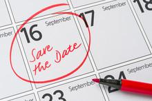 Save The Date Written On A Calendar - September 16