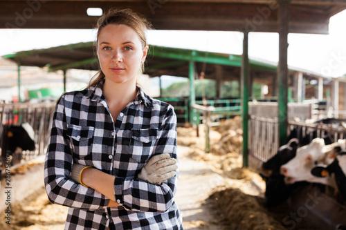 Pinturas sobre lienzo  Female farmer on dairy farm