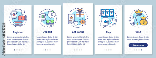 Fototapeta Online casino onboarding mobile app page screen with linear concepts. Register, deposit, get bonus, play and win. Walkthrough steps graphic instructions. UX, UI, GUI vector template with illustrations obraz