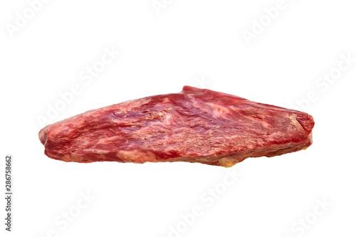 Steak Bottom Sirloin Flap Meat (Bavet) of marbled beef on a white background Fototapete