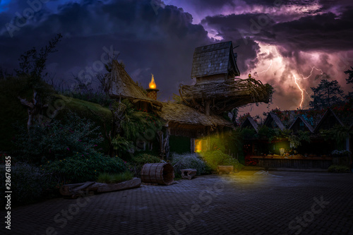 Night view at Old Village in Indonesia Canvas Print