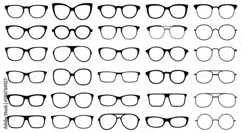 Glasses collection. Sunglasses set. Vector Fototapet