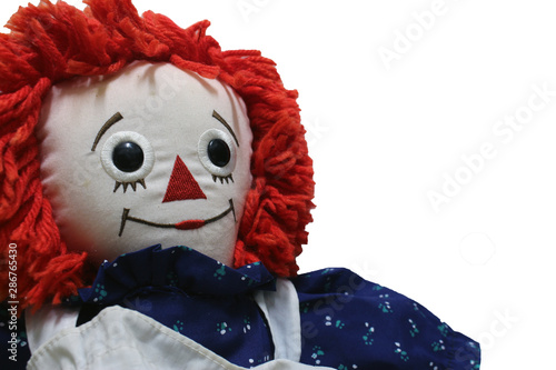 Old Time Rag Doll on white background, Ghost mystic doll Wallpaper Mural
