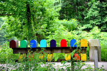 Mailboxe Row In Rainbow Colors