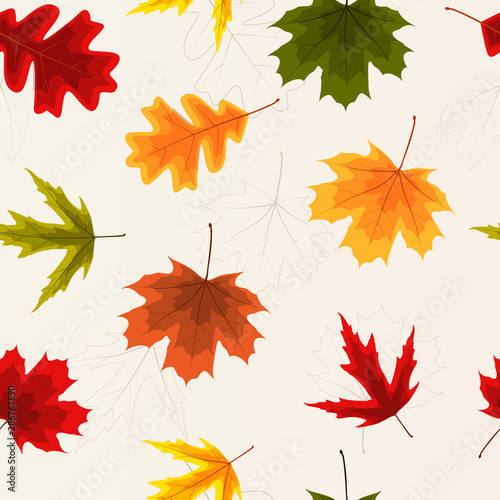 Fototapety, obrazy: Autumn Leaves Seamless Pattern Background Vector Illustration