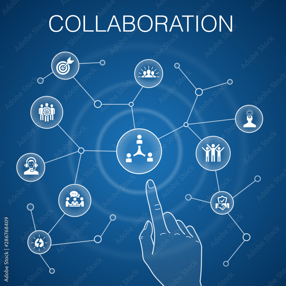 Fototapeta collaboration concept blue background teamwork, support, communication, motivation icons