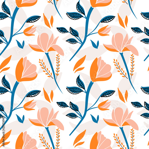Seamless floral pattern. Modern pattern with flowers for textile, wrapping paper or background. Flat vector illustration Fototapete