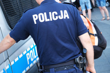 Katowice, Poland-august/15/2019 The Policeman On The Street On Duty. Close Up Of Police Logo.