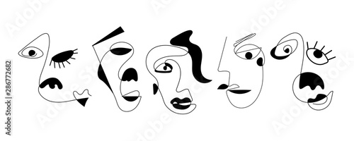 Photographie  Set of five abstract face one line drawing