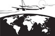 Cargo plane flying around the world - vector illustration