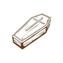 Wodden Coffin With Cross Symbol, Casket Vector Illustration