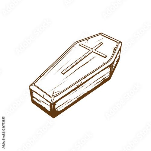 Fotografie, Obraz wodden coffin with cross symbol, casket vector illustration