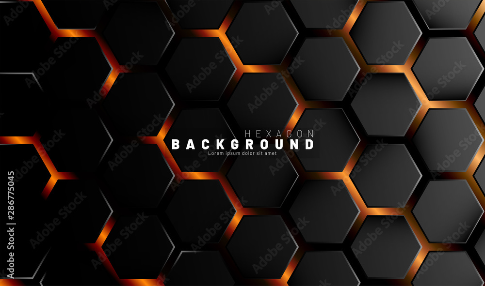 Fototapety, obrazy: Abstract black hexagon pattern on a technology style of neon gradient background. Honeycomb. Vector illustration