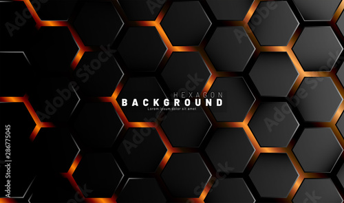 Abstract black hexagon pattern on a technology style of neon gradient background Wallpaper Mural
