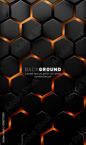 Vertical hexagon background. Gradient color light pattern with dark background technology style. Honeycomb. Vector illustration of light. - 286775051