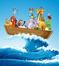 Many Animals On The Boat At Sea