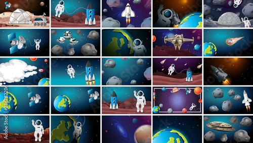Foto op Canvas Kids Large set of different space scenes