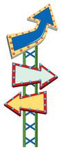 Three Arrow Signs On Green Pole