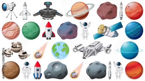 La pose en embrasure Jeunes enfants Set of planets and space obejcts