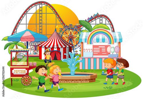 An outdoor funfair scene