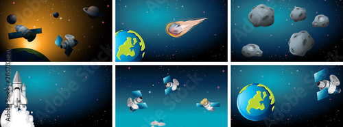 Photo Stands Kids space background scene set
