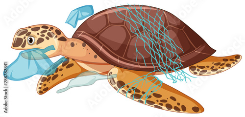 Sea turtle and plastic bags on white background