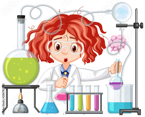 La pose en embrasure Jeunes enfants Scientist doing experiment in science lab