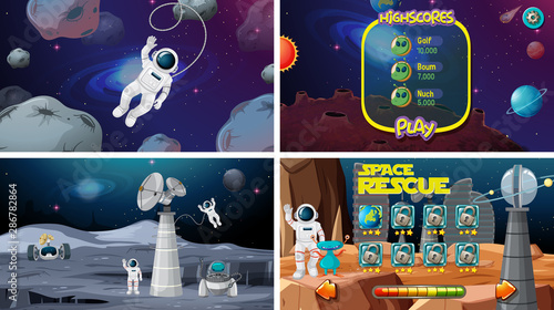 Tuinposter Kids Set of space games