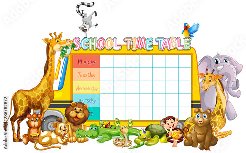 Photo Stands Kids School timetable template with African animals
