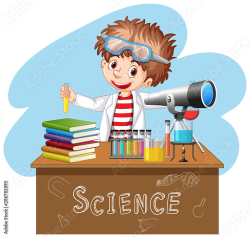 Tuinposter Kids Scientist doing experiment in science lab