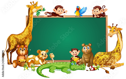 Tuinposter Kids Border template design with cute animals
