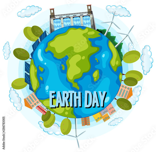 Tuinposter Kids Clean energy earth day poster