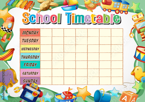 Montage in der Fensternische Kinder School timetable template with toys