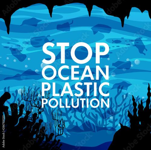 Foto auf Gartenposter Kinder Poster design with trash under the ocean