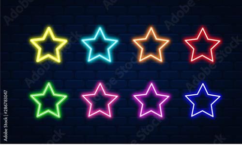 Obraz Star neon vector set. Star neon icon. Star neon symbol.Star neon led electric - fototapety do salonu