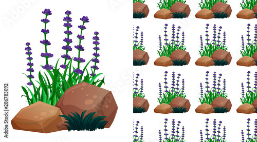 Seamless background design with lavender flowers and stones