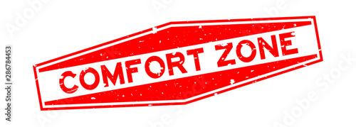 Stampa su Tela  Grunge red comfort zone word hexagon rubber seal stamp on white background